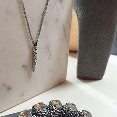 "Rachel Zoe Gunmetal Pave Matchstick Necklace Details: • 17"" chain • 1"" pendant • Brand new in box  11071505 Rachel Zoe Jewelry Necklaces"