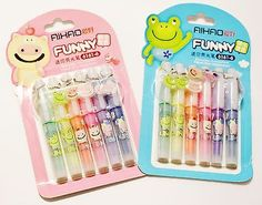 KAWAII CUTE AIHAO FUNNY MINI HIGHLIGHTERS SCHOOL STATIONERY LOT OF ONE 6 PACK