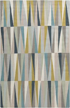 Striking composition in muted shades. Flat weave wool rug by Surya. (FT-570) Clearance Rugs, Teal Area Rug, Teal And Gold, Rectangular Rugs, Throw Rugs, Woven Rug, Wool Area Rugs, Rugs On Carpet, Print Patterns