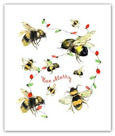 Get the in your life a gift that shows your support for their passion! Watercolor Cards, Watercolor Print, Bee Painting, Vintage Bee, Bee Cards, Nature Artwork, Bee Happy, Bees Knees, Bee Keeping