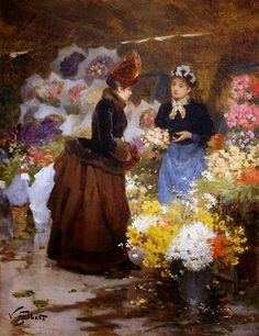 bumble button: 1880's Paintings of Paris Flower Markets by Victor Gabriel Gilbert