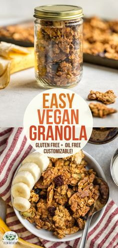 This Vegan Granola recipe is easy, crunchy, healthy, and highly customizable! Enjoy these golden, nutty clusters for an easy breakfast or snack. #vegan #plantbased #glutenfree #oilfree #granola | frommybowl.com
