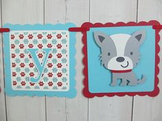 Dog Puppy Birthday Party Baby Shower Banner Sign Red Turquoise Aqua Blue Terrier Daschund Party Decorations Decor