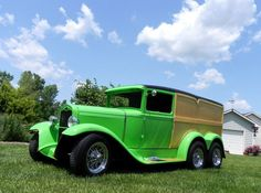 1930 Model A street rod converted into a one-of-a-kind 6-wheel tandem panel wagon by stretching the old Tudor an additional four feet and adding another axle and a pair of wheels to the suspension.