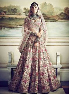 Pink embroidered Sabyasachi bridal lehenga. Click on picture to see lehenga price. #Frugal2Fab