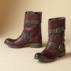 Park Creek Boots in wine, two-tone, military-inspired | Sundance - would love a vegan version of this