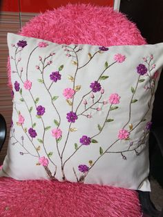 Pretty pink & purple blossom cushion embroidery - My CMS Cushion Embroidery, Embroidered Cushions, Hand Embroidery Stitches, Embroidery Art, Sewing Stitches, Ribbon Embroidery Tutorial, Flower Embroidery Designs, Silk Ribbon Embroidery, Crochet Cushions