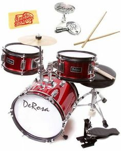 Bridgecraft 3-Piece 12-Inch Drum Set Bundle with Drum Key, Pro Drumsticks, and Polishing Cloth - Red by Bridgecraft. $114.95. Bundle includes Bridgecraft 3-Piece 12-Inch Drum Set with Stagg Drum Key, Professional-Quality Drum Sticks, and Polishing Cloth.This sturdy Bridgecraft DeRosa three-piece kid's drum set is sized just right for children 3 to 5 years old. Built to last, this durable drum set features real birch wood multi-ply shells, fully tunable top and bo...
