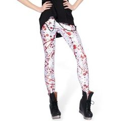 Blood Splatter White/Red Leggings