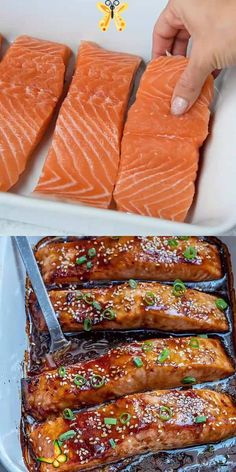 centerbifunow BAKED TERIYAKI SALMON -  A perfectly flaky and tender salmon recipe that's made with an easy homemade teriyaki sauce and b - #baked #Beef #Dinners #GlutenFree #PaleoRecipes #salmon #teriyaki<br> Salmon Dishes, Fish Dishes, Seafood Dishes, Seafood Recipes, Cooking Recipes, Healthy Recipes, Beef Recipes, Dinner Ideas, Lunch Ideas