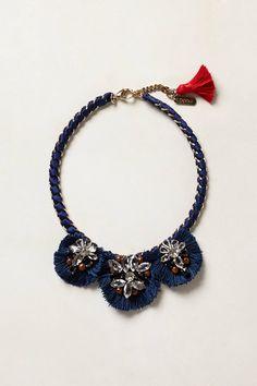 """Lazio Bib Necklace - anthropologie.com  By Rada Lobster clasp Brass, silk, glass 24""""L 2.25"""" bib"""