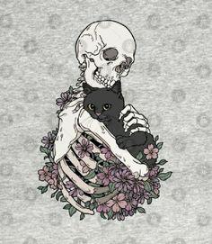 Skeleton Art, Skull Wallpaper, Arte Horror, Dark Fantasy Art, Cat Tattoo, Skull Art, Pretty Art, Cat Art, Art Inspo