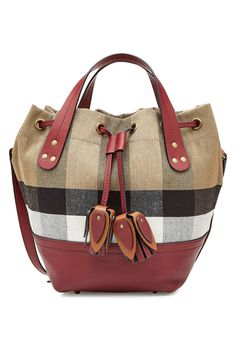 BURBERRY SMALL PRINTED TOTE WITH LEATHER. #burberry #bags #leather #hand bags #tote #