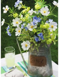 Blue, white and yellow-green summer flowers