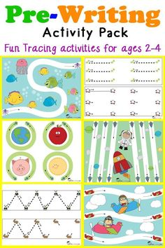 Pre-Writing Tracing Pack for Toddlers Pre-Writing Activity Pack for toddlers and preschoolers ages featuring fun tracing worksheets to help develop prewriting skills. Pre K Activities, Preschool Learning Activities, Preschool Printables, Preschool Worksheets, Writing Activities, Kids Learning, Preschool Curriculum Free, 3 Year Old Worksheets, Toddler Worksheets