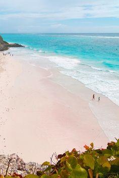 Incredible pink sand beach at Crane Beach in Barbados.