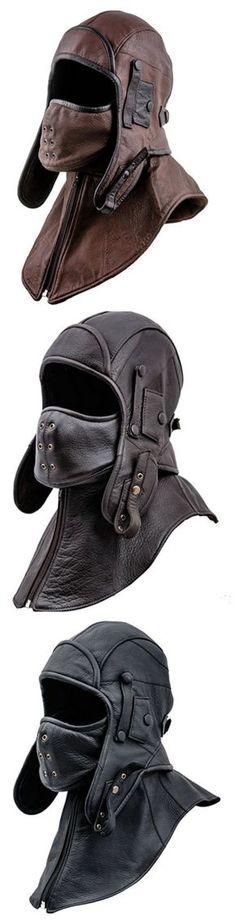 Genuine Leather Men's Aviator Trapper Cap with Mask and Collar
