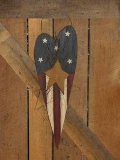 Primitive Wood Vertical Americana Heart by margielouw