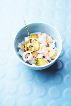 Cocktail 3 fruits de mer, assortiment de #crevettes, de #moules et d'anneaux de calmar #Picard