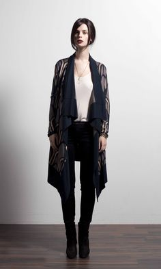 Novel drape front cardigan in Nocturne Print Duster Coat, Kimono Top, Houston, Jackets, Nocturne, Image, Collection, Tops, Women