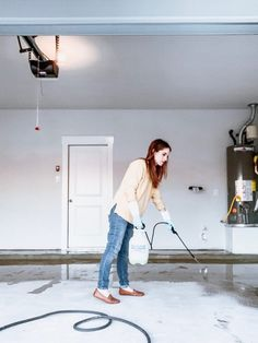How to apply a DIY epoxy floor coating in your garage. #diy #diyproject #garage #epoxyfloor #prideinthemaking #rustoleum Rustoleum Garage Floor Epoxy, Epoxy Garage Floor Coating, Garage Floor Coatings, Epoxy Floor, Stained Concrete, Concrete Floors, Concrete Garages, Garage Interior, Basement Flooring