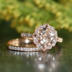 Vintage Floral Morganite Engagement Ring Diamond by LaMoreDesign