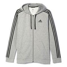 Big & Tall Adidas Essential Fleece Full-Zip Jacket, Med Grey