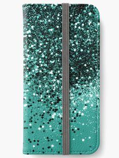 """Sparkling Turquoise Lady Glitter #1 #shiny #decor #art"" iPhone Wallets by anitabellajantz | Redbubble"