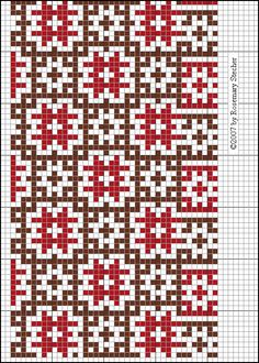 TUNIC BODICE AND SLEEVES   Medieval Middle Eastern Cross Stitch Embroidery, graphed by Rosemary Stecher (Mathilde Eschenbach)   Red and brown silk on cotton. Lebanon, about 1283.