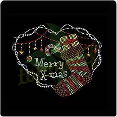 Rhinestone Silver Letters Transfers Christmas Stocking Motif Design