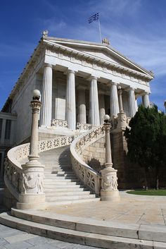 National Library of Athens, nineteenth century neoclassical building in Panepistimiou Avenue, Greece. Athens City, Athens Greece, Neoclassical, Adventure Awaits, Gazebo, Architecture Design, Travel Destinations, Outdoor Structures, Stock Photos