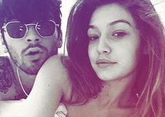 Celebrity couples who took pictures together naked, nude in bed; Famous pairs who took photos after having sex; Famous Pairs, Gigi Hadid And Zayn Malik, Cute Celebrity Couples, Celebs, Celebrities, Selfie, Naked, Poses, Engagement