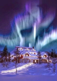 Hotel and Igloo Village Kakslauttanen - Lapland, Finland!love this awesome aurora borealis surrounding the hotel! Igloo Village, Beautiful World, Beautiful Places, Beautiful Lights, Stunningly Beautiful, Winter Scenes, Snow Scenes, Belle Photo, Dream Vacations