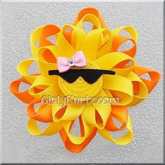 Sun Ribbon Sculpture Hair Clip Loopy Hair Bow Sun by GirlyKurlz, $6.25