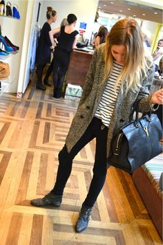 grey sweater stripe top black jeans boots
