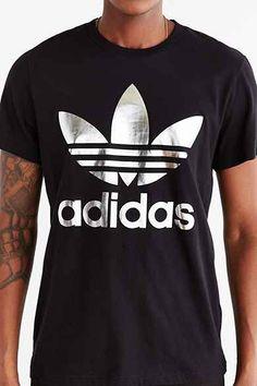 Adidas originali uomini 'arte bloccato trifoglio t - shirt rosso / bianco / nero