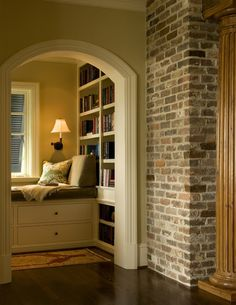 Not only do I LOVE LOVE LOVE the library nook, the exposed brick wall is gorgeous!