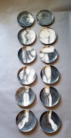 Vintage Porcelain Plates Depicting Adam by Piero Fornasetti, 1960s, Set of 12 1