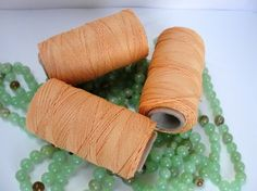 APRICOT waxed linen, 1 mm / 16,5 yards -15 m. from Jewelry&Hand Made by DaWanda.com