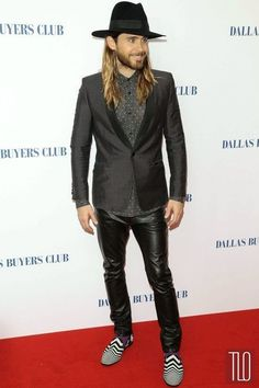 """Jared Leto in Saint Laurent (Nicholas Kirkwood shoes) at the UK premiere of """"Dallas Buyers Club"""". Tom & Lorenzo: """"Because there is no one else in the celebrity sphere dressing quite like this. Because it suits him to a t. Because it's LOADED with personality. Because he's Rocker Pixie Jesus and he can do whatever he wants."""" 2014"""