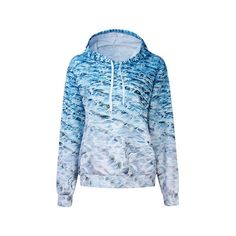 Casual  3D Wave Pattern Printed Gradual Long Sleeve Hoodie ($25) ❤ liked on Polyvore featuring tops, hoodies, as picture, women plus size tops, plus size hooded sweatshirt, patterned hoodies, plus size long sleeve tops, blue hoodies and womens plus tops