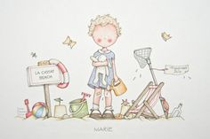 by Celine Bonnaud Illustration Mignonne, Cute Illustration, Watercolor Illustration, Celine, Art Fantaisiste, Picture Sharing, Cute Clipart, Whimsical Art, Baby Decor