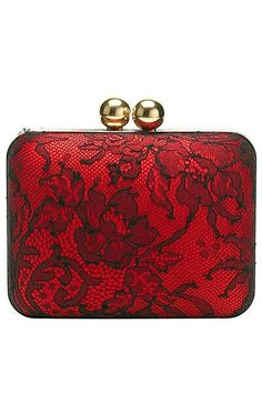 Red and black lace clutch