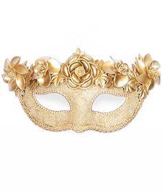 Gold Masquerade Mask Decorated With Oversized Metallic Flowers - Beaded Metallic Venetian Mask on Etsy, $80.00