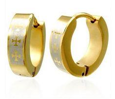 Stainless Steel Goldtone Maltese Cross Small Hoop Huggie Earrings ** See this great product.