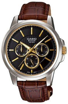 Casio Men's BEM307BL-1A2V Brown Leather Quartz Watch with Black Dial Casio 43mm Case Diameter. Mineral Crystal. Quartz Movement. 50 Meters / 165 Feet / 5 ATM Water Resistant. Save 15%!