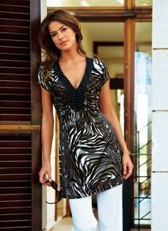 Designer Tunikashirt  Vivance Collection schwarz weiß braun größe 38 neu (€ 17,95)