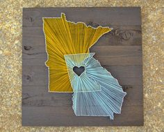 "Two State String Art on 21""x21"" Stained Wood- Customizable String Art"