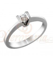 Μονόπετρo δαχτυλίδι Κ18 λευκόχρυσο με διαμάντι κοπής brilliant - MBR_073