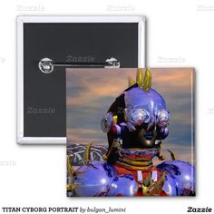 TITAN CYBORG PORTRAIT 2 INCH SQUARE BUTTON